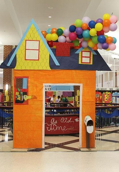 Students who walk into the front of the school will be greeted by the house from the movie