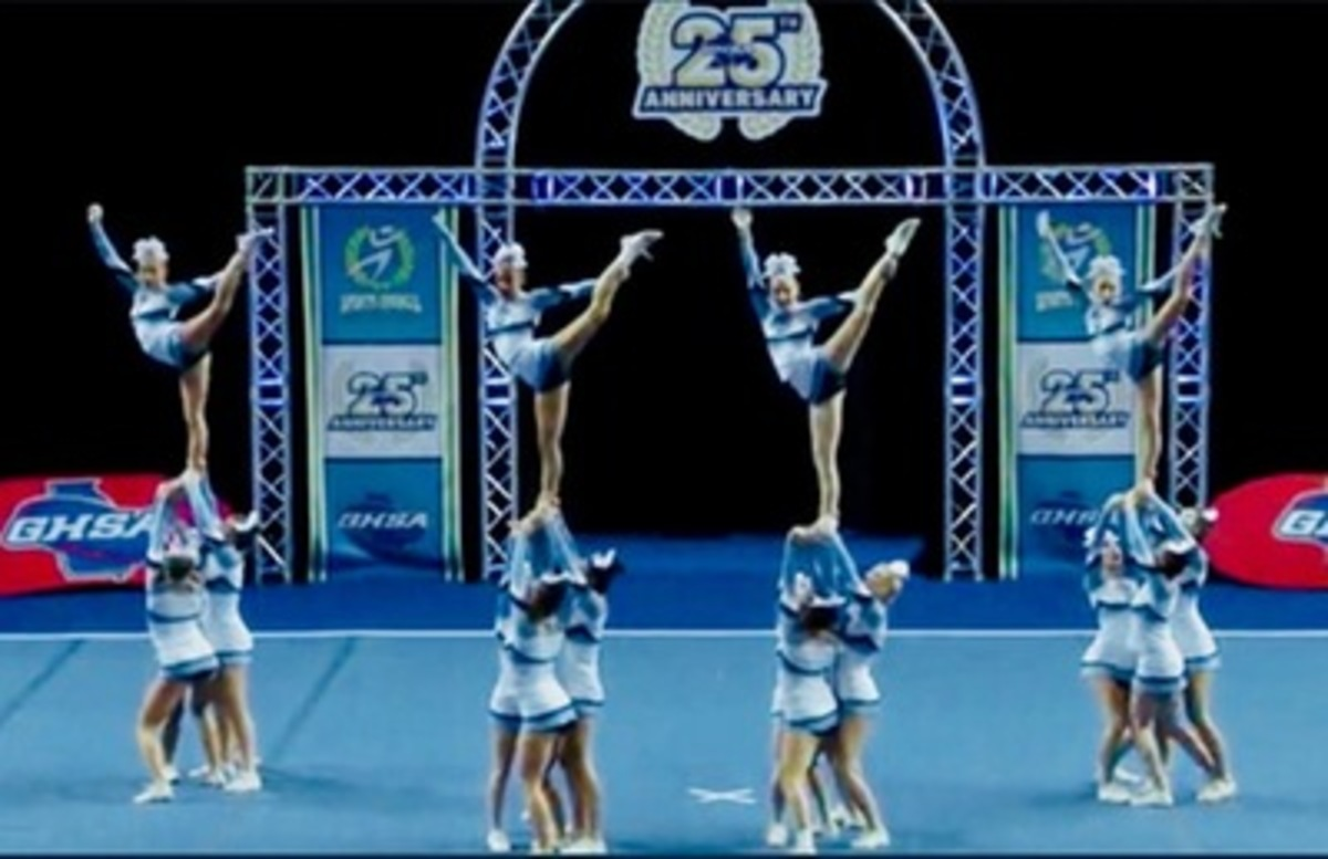 Cheer team pulls off a stunt at state competition.