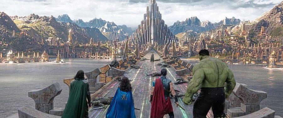 The+four+main+heroes+of+the+film%2C+%28Tom+Hiddleston%27s+Loki%2C+Tessa+Thompson%27s+Valkyrie%2C+Chris+Hemsworth%27s+Thor%2C+and+Mark+Ruffalo%27s+The+Hulk%29%2C+prepare+to+battle+Hela%2C%28Cate+Blanchett%29.+