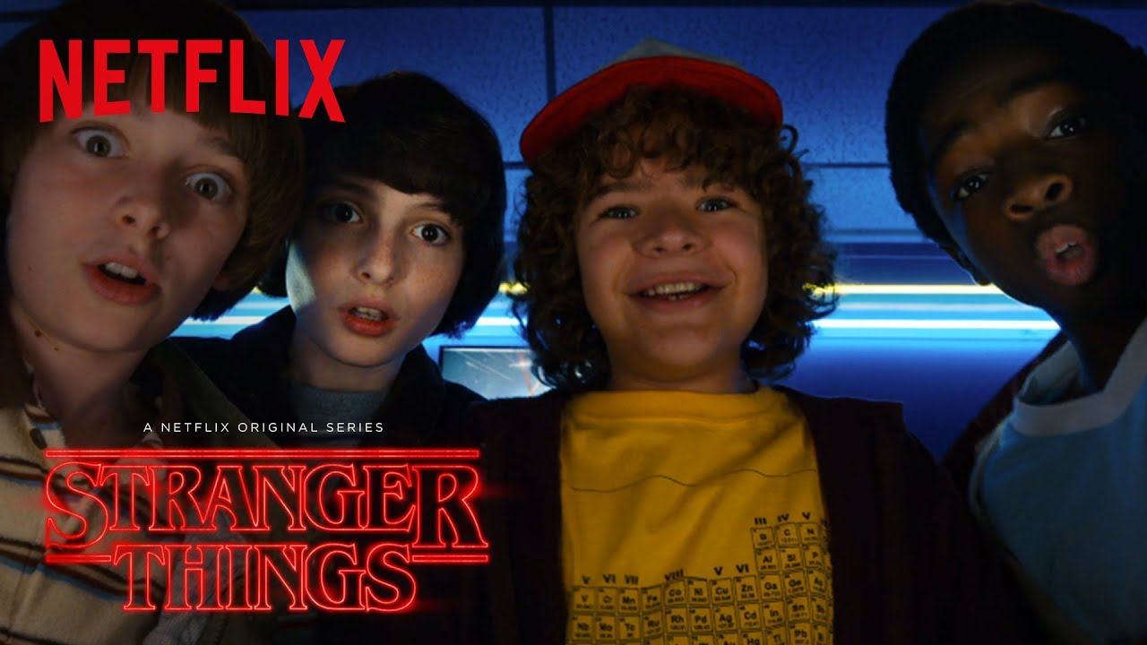 The main 4 cast members from left to right: Noah Schnapp as Will Byers, Finn Wolfhard as Mike Wheeler, Gaten Matarazzo as Dustin Henderson, and Caleb McLaughlin as Lucas Sinclair.