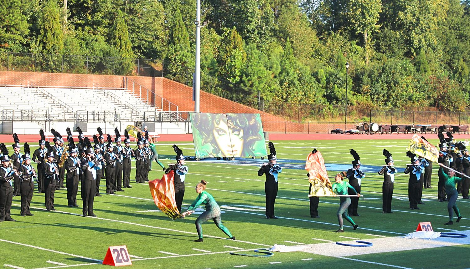 The Cambridge marching band was among 14 ensembles performing at the Fulton County Marching Exhibition on Saturday.
