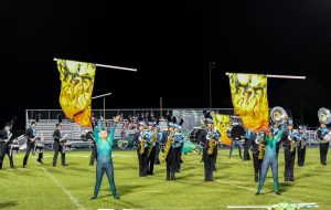 The marching band and color guard competing at their competition in Ponte Vedra, Fla.