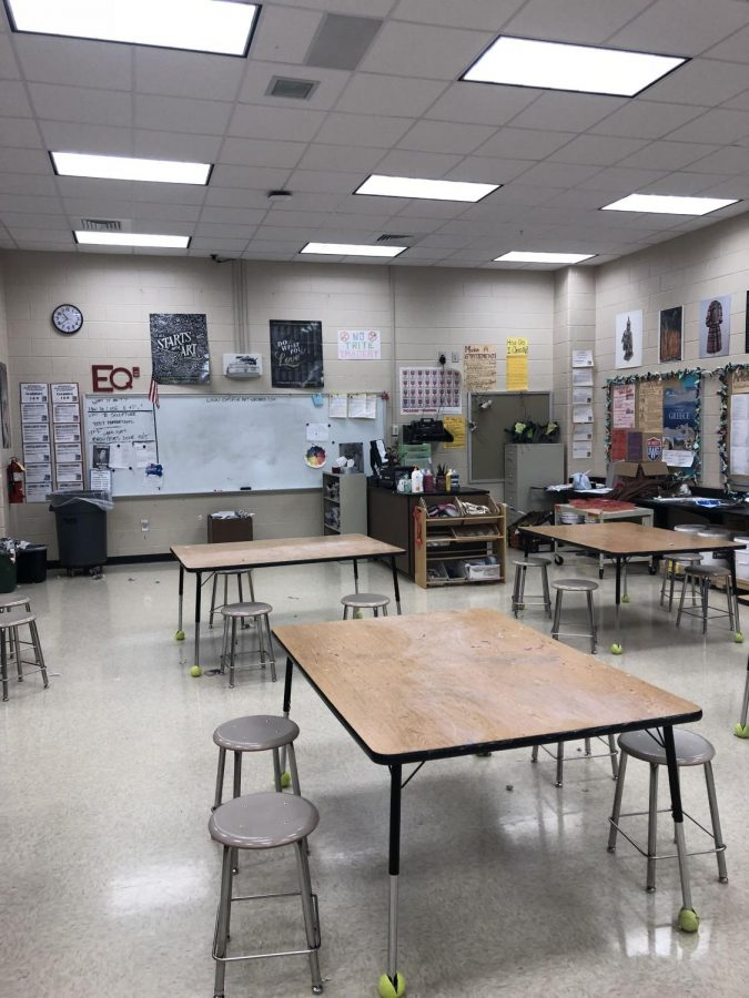 A picture of the interior of Harris' classroom where she teachers her students.