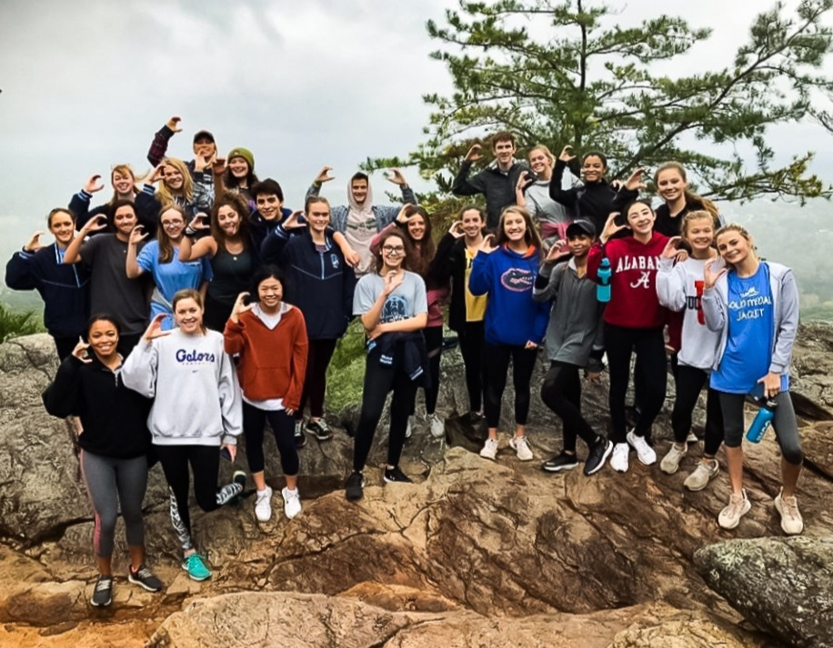 Members of the Swim and Dive team on their team hike to Indian Seats.