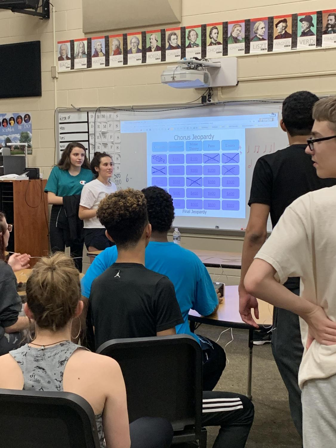 Members of chorus play an eclectic game of Jeopardy.