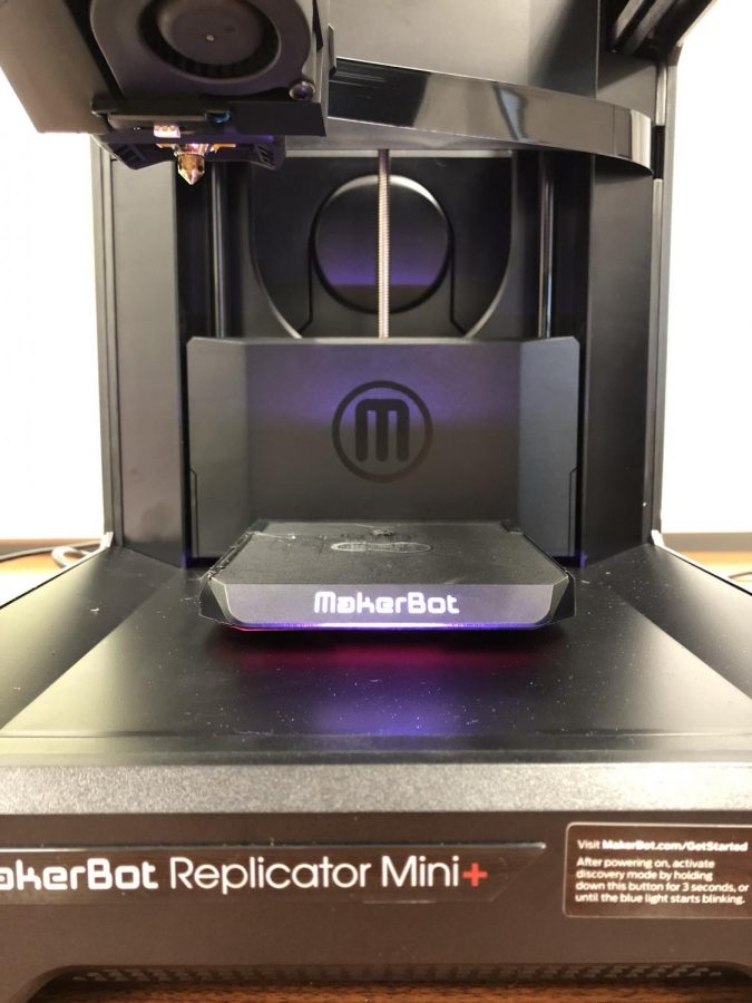 The 3D printer, which is located in the Student Center.