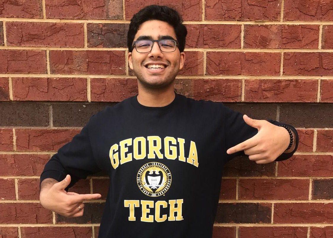 Senior Nishu Pawar shows off his Georgia Tech sweatshirt.