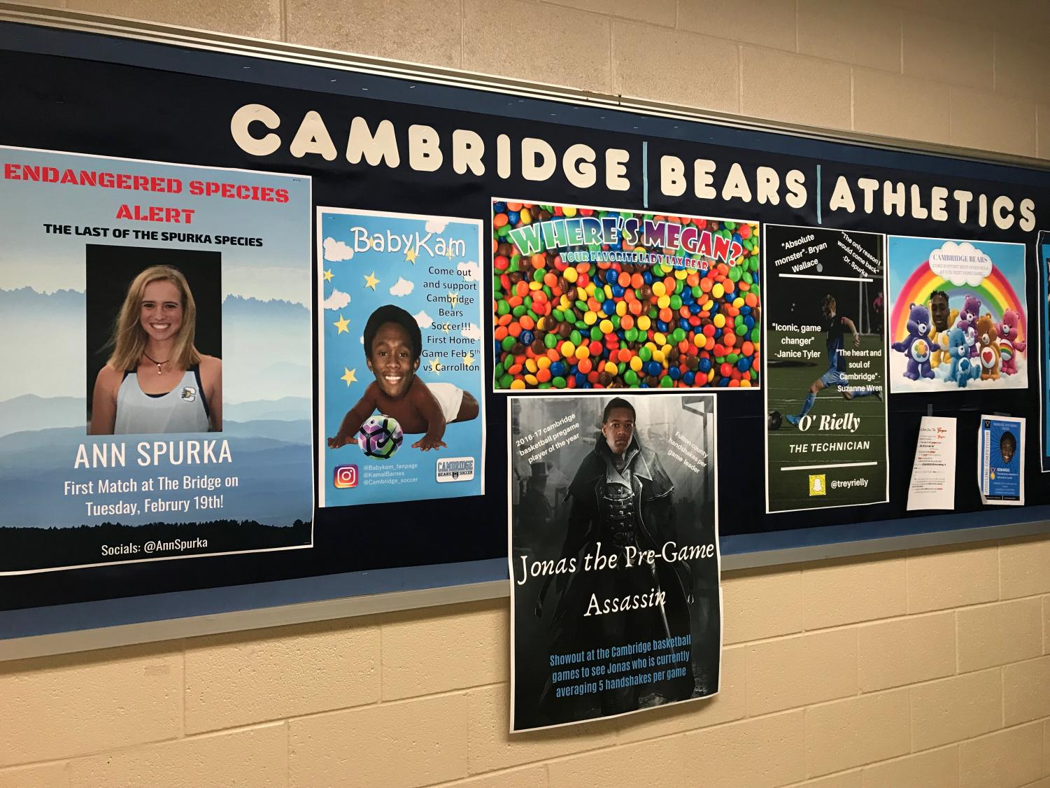 Posters created by marketing students to promote athletes and their sports.