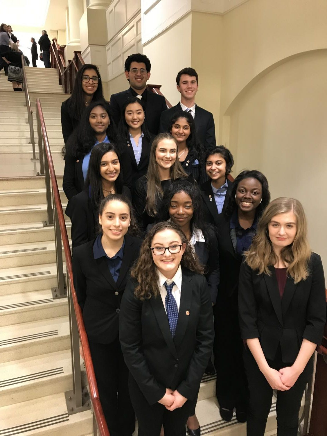 The 2019 Mock Trial team at their district competition.