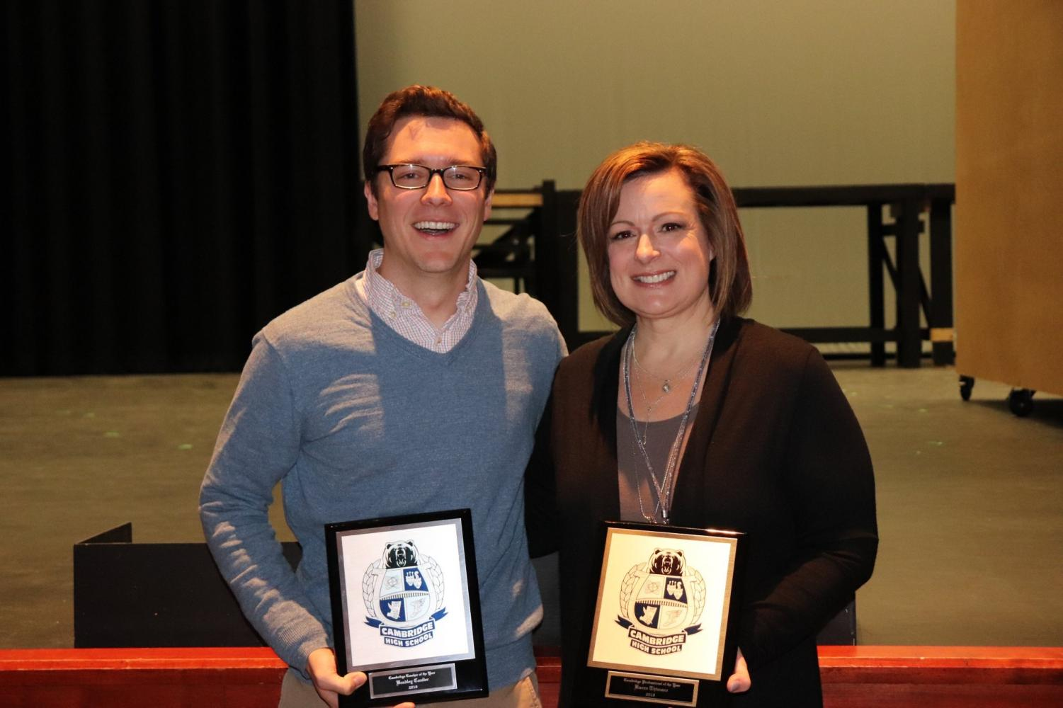 Professional of the Year Karen Thimsen and Teacher of the Year Brad Coulter with their award plaques.