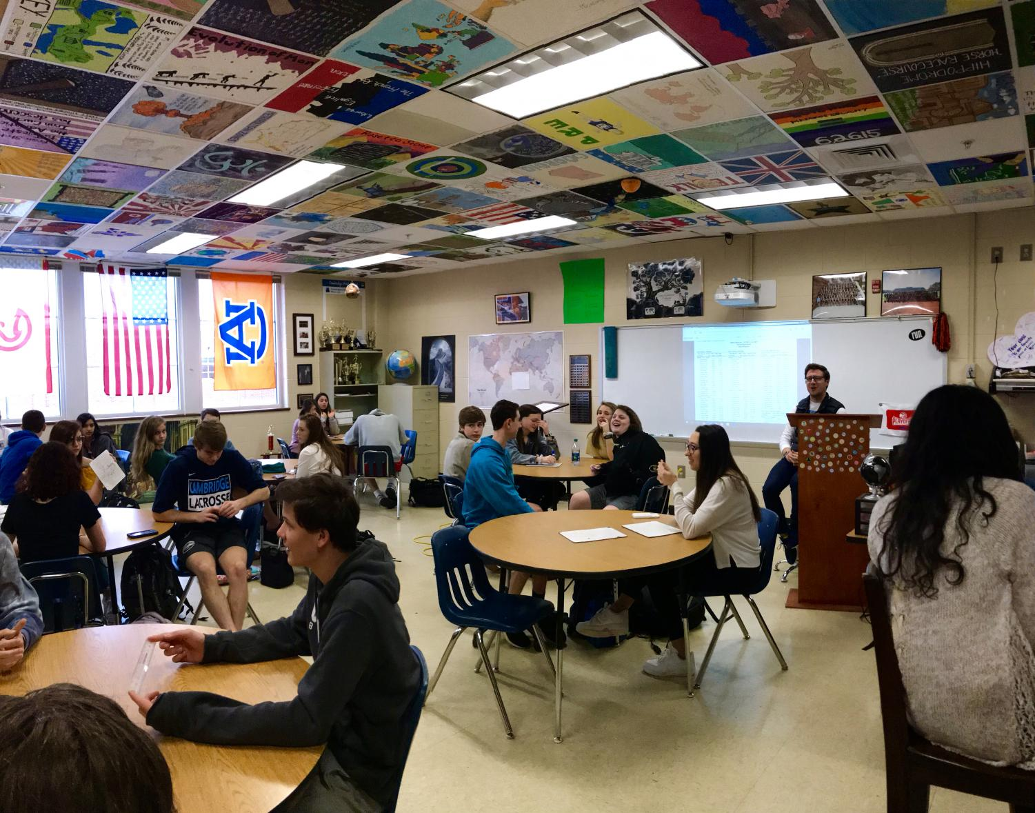AP Human Geography teacher Brad Coulter gives his third period class a warm-up.