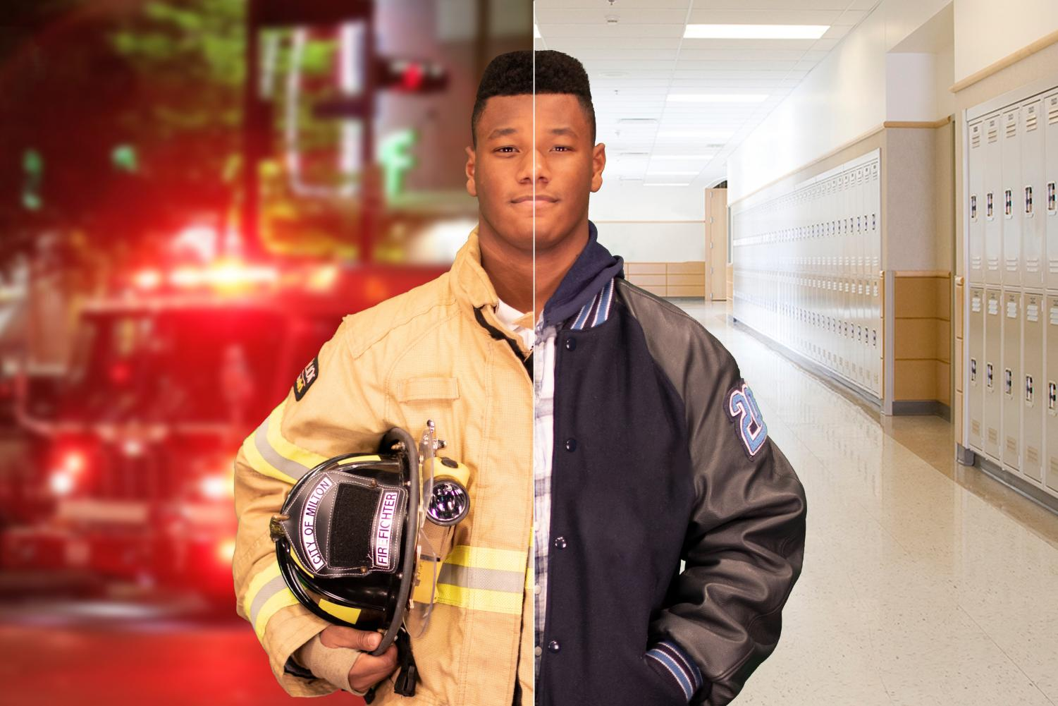 Sophomore Philip-Michael Collins is shown here as both a regular student and a certified firefighter.