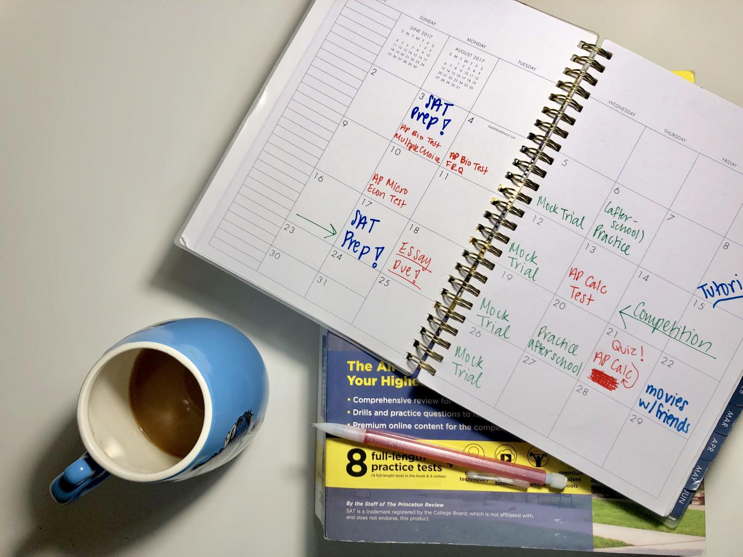 The typical schedule of a busy student is packed with different activities.