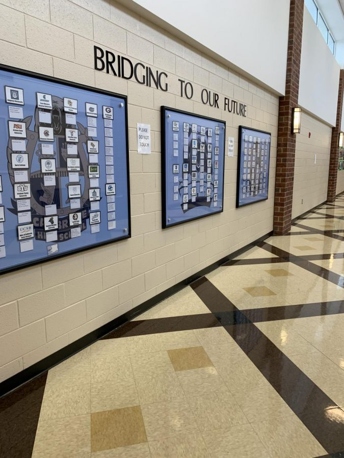 This series of bulletin boards, which is featured prominently at the front of the school, displays where the graduating class of seniors will be attending college in the fall.