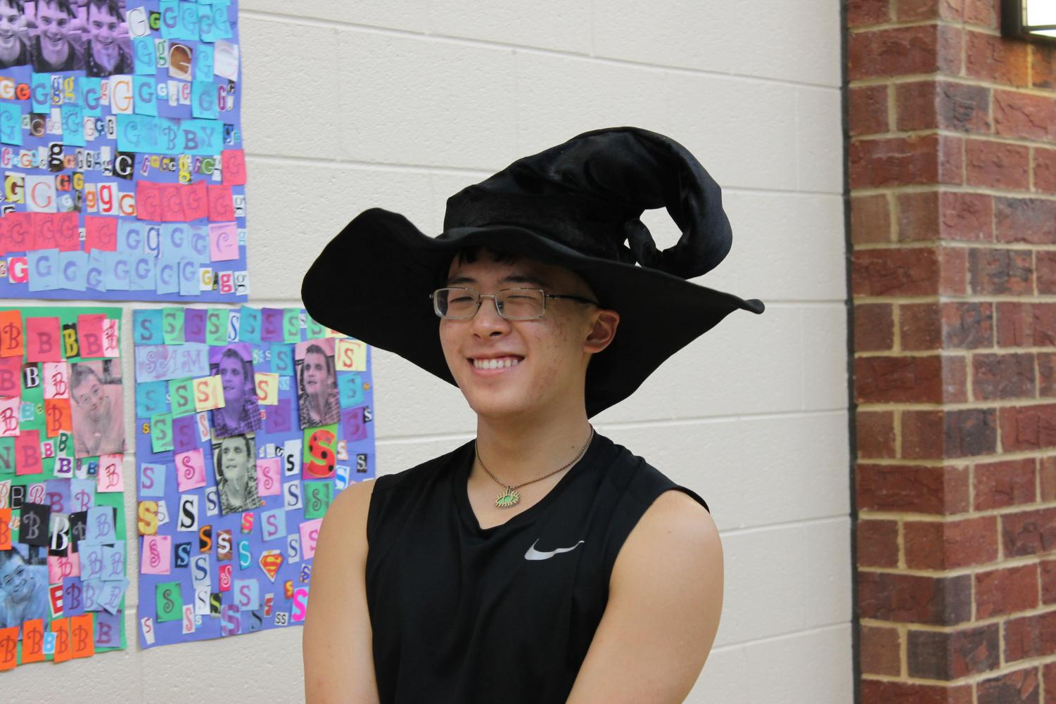 Senior Jacob Kim is dressed as a witch.