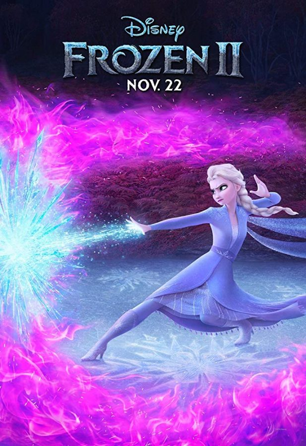 One+of+the+promotional+posters+for+Disney%27s+%22Frozen+II%2C%22+depicting+Elsa+blasting+ice+through+purple+fire.