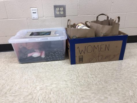 The box for supplies going to the Drake House, located in room 1126.
