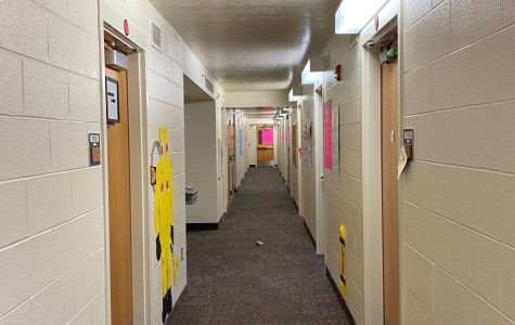 A dorm hall at Brigham Young University, left empty after the students have packed up and left campus.
