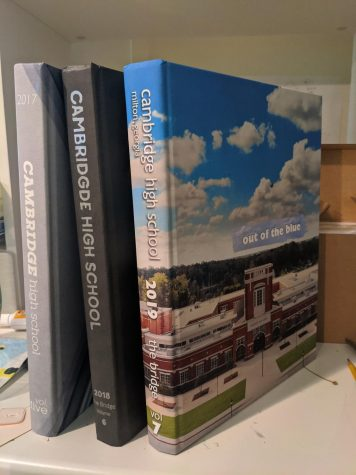 Cambridge yearbooks from the past three years. The cover for the 2020 yearbook will be revealed in the coming weeks.