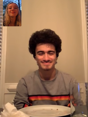 Juniors Santiago Tovar and Emily Kitchens have a FaceTime date to celebrate their 11-month anniversary.