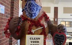 The bear in the student center is decked out for Valentine's Day.