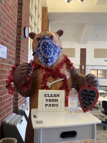 The bear in the student center is decked out for Valentine