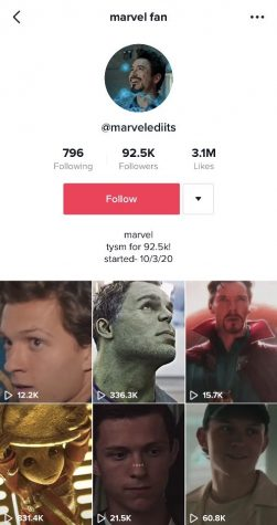 Screenshot of a Marvel fandom account on TikTok.