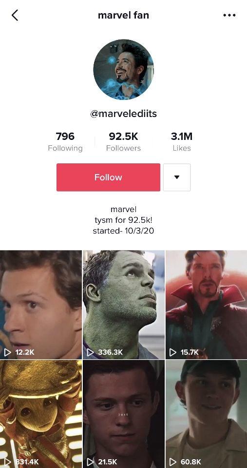 Screenshot of a Marvel fandom account on TikTok.