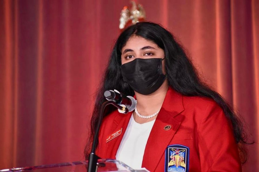 Ambuja Sharma, the national president of SkillsUSA, speaks to over 300 conference attendees in Washington, D.C.