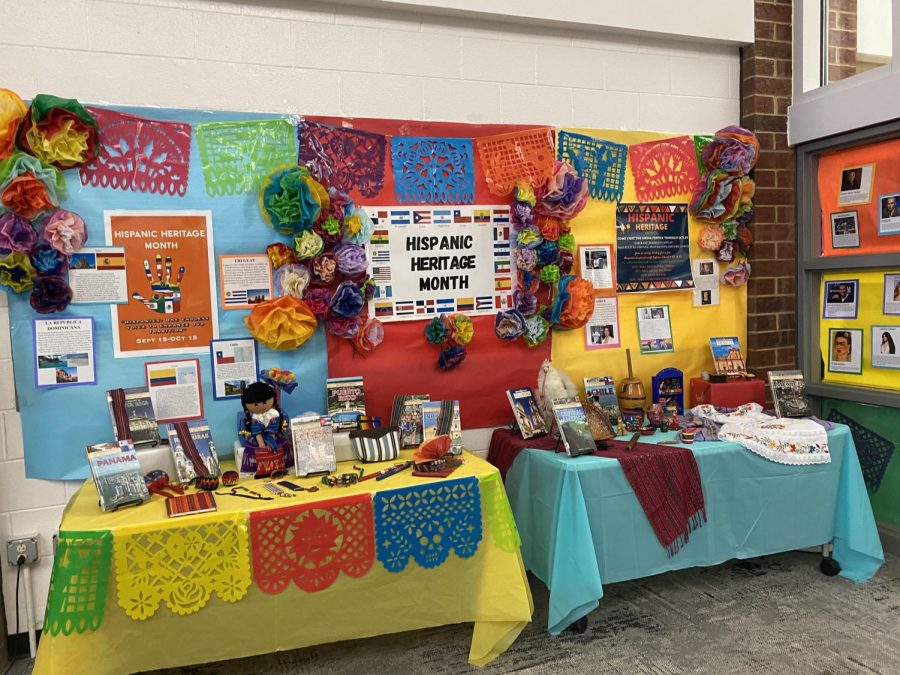 The display in the media center in honor of Hispanic Heritage Month.